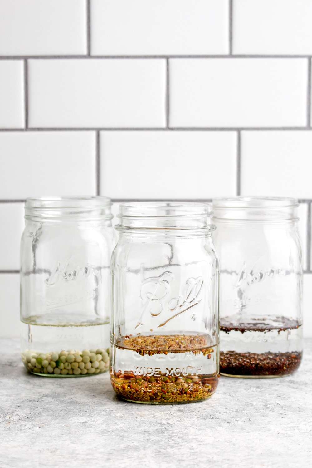 Sprout seeds soaking in water in mason jars.