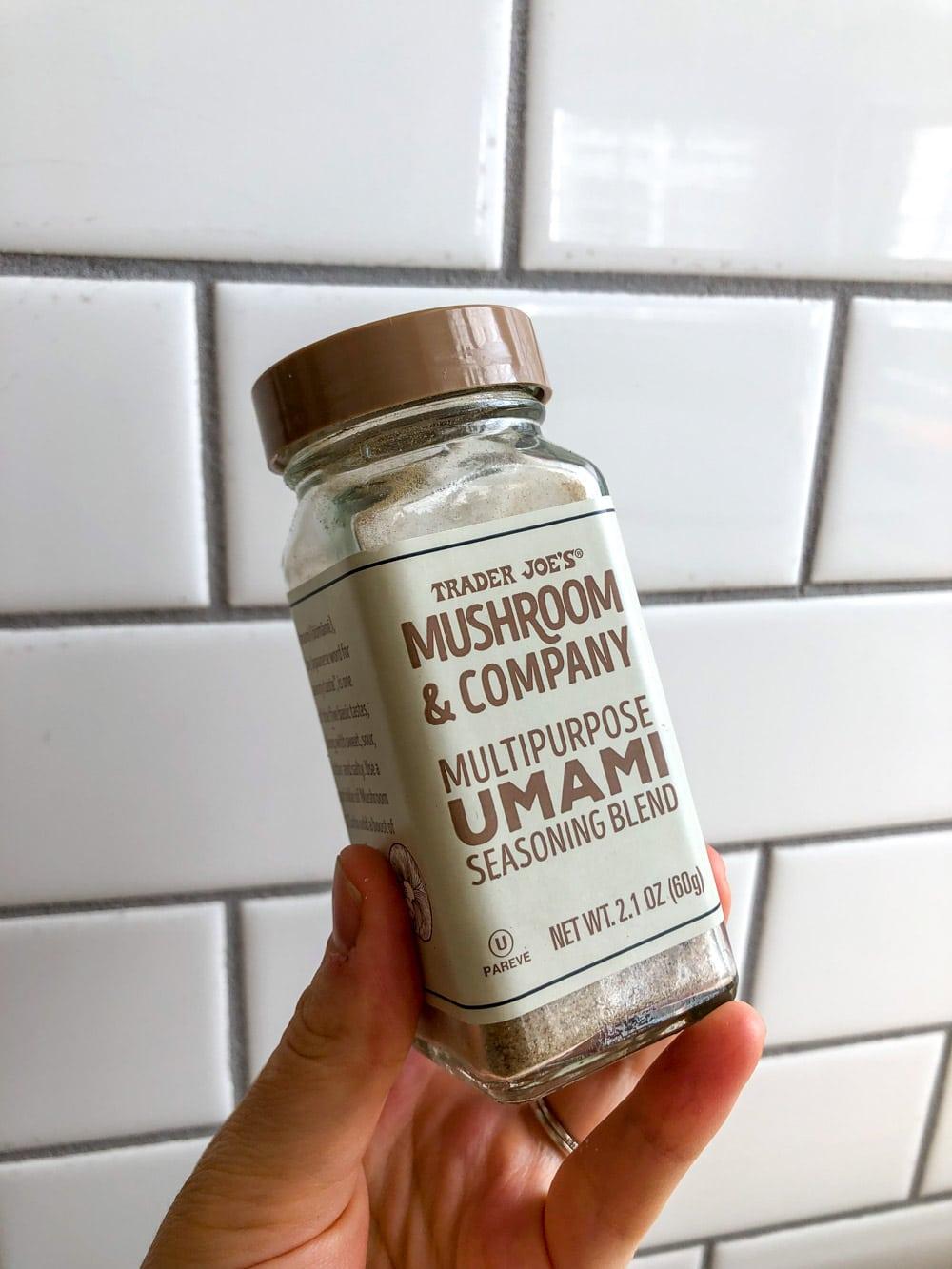 A jar of umami seasoning blend.