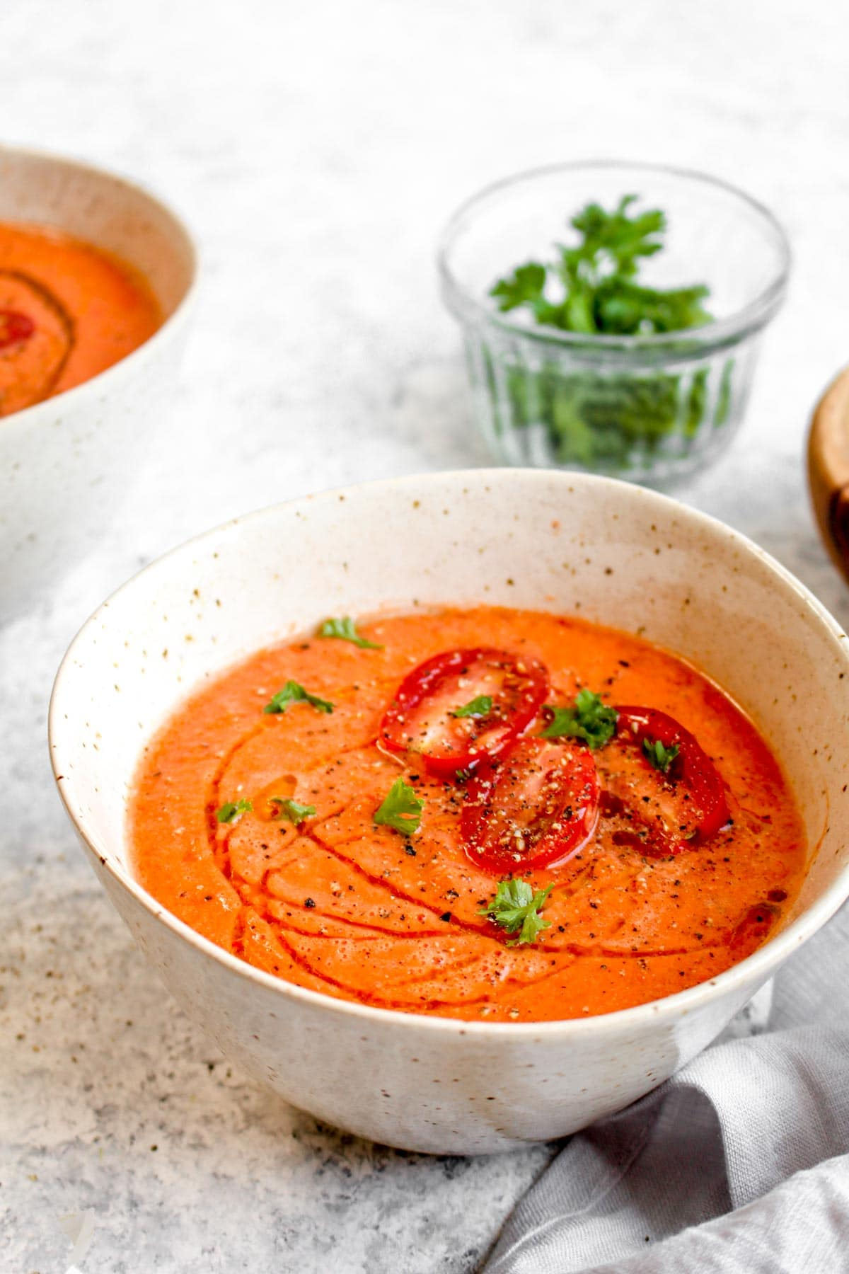 A bowl of blended foolproof gazpacho with tomatoes.