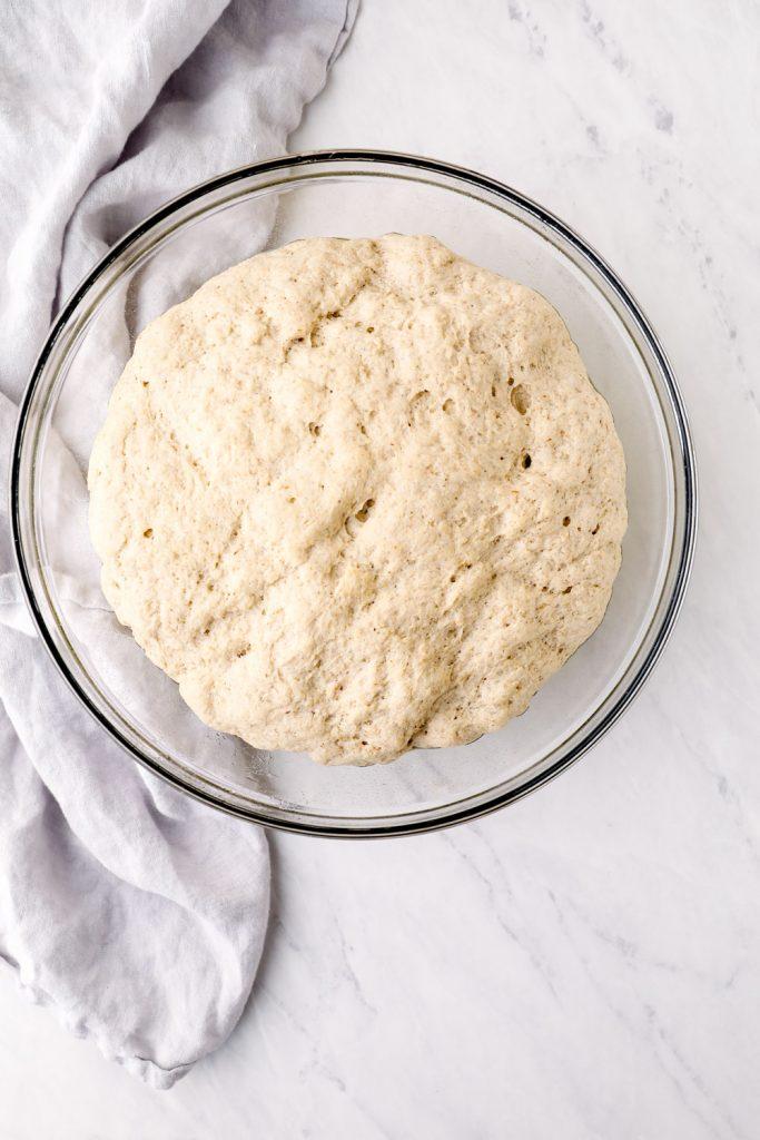 Risen Gluten Free Bread in a bowl.