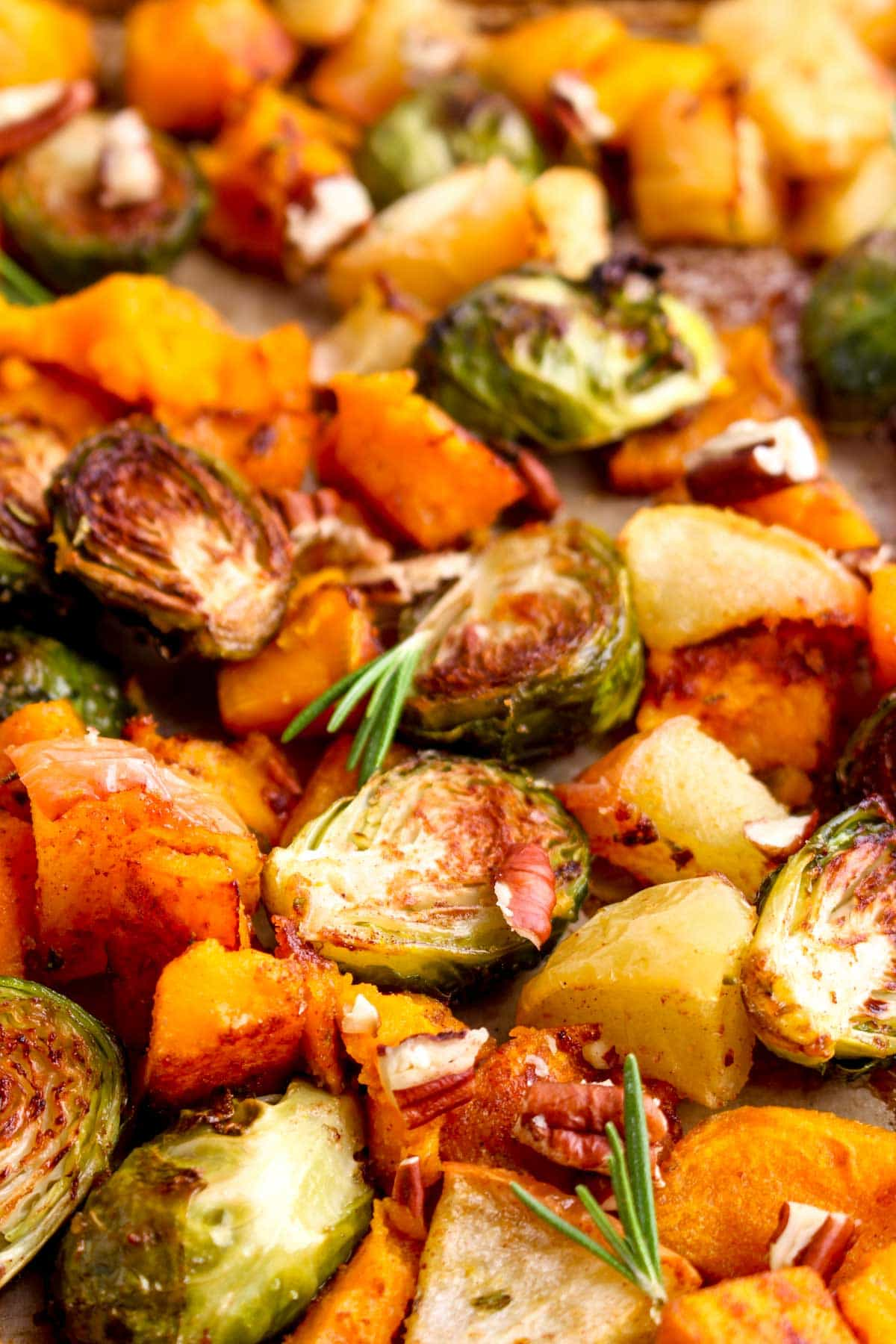 Butternut Squash, Apple, and Brussel Sprout Bake on a sheet pan.