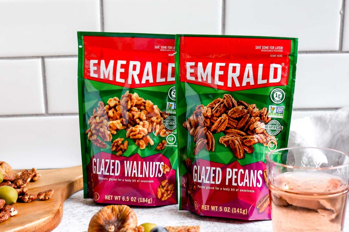 Bags of Emerald glazed walnuts and glazed pecans.