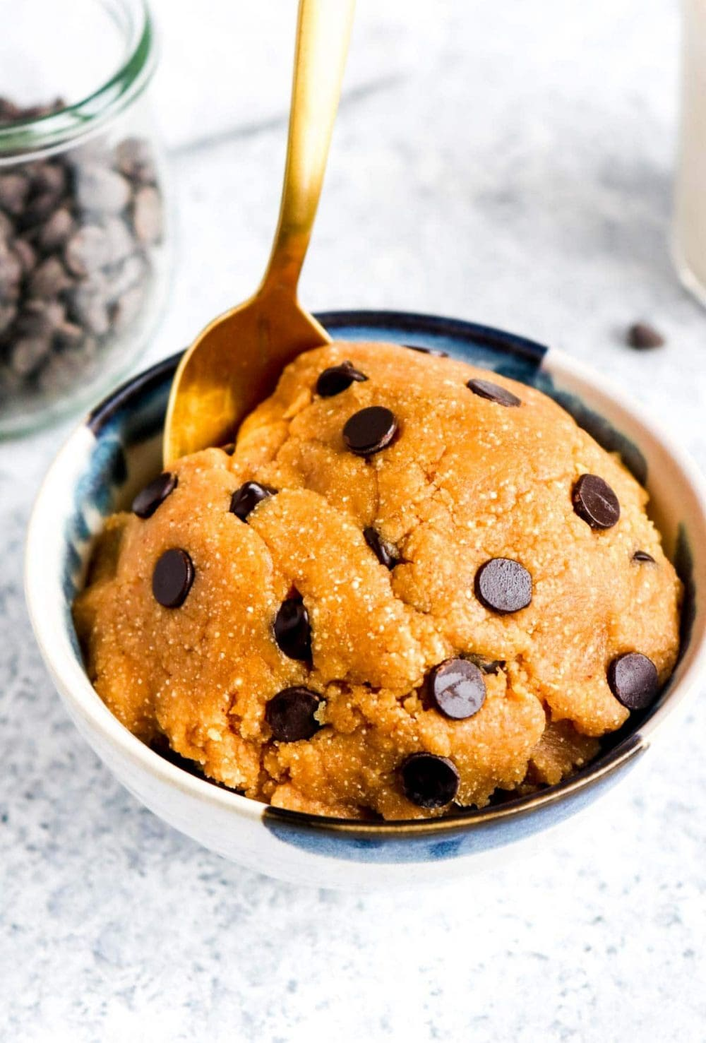 A bowl of edible grain free chocolate chip cookie dough.