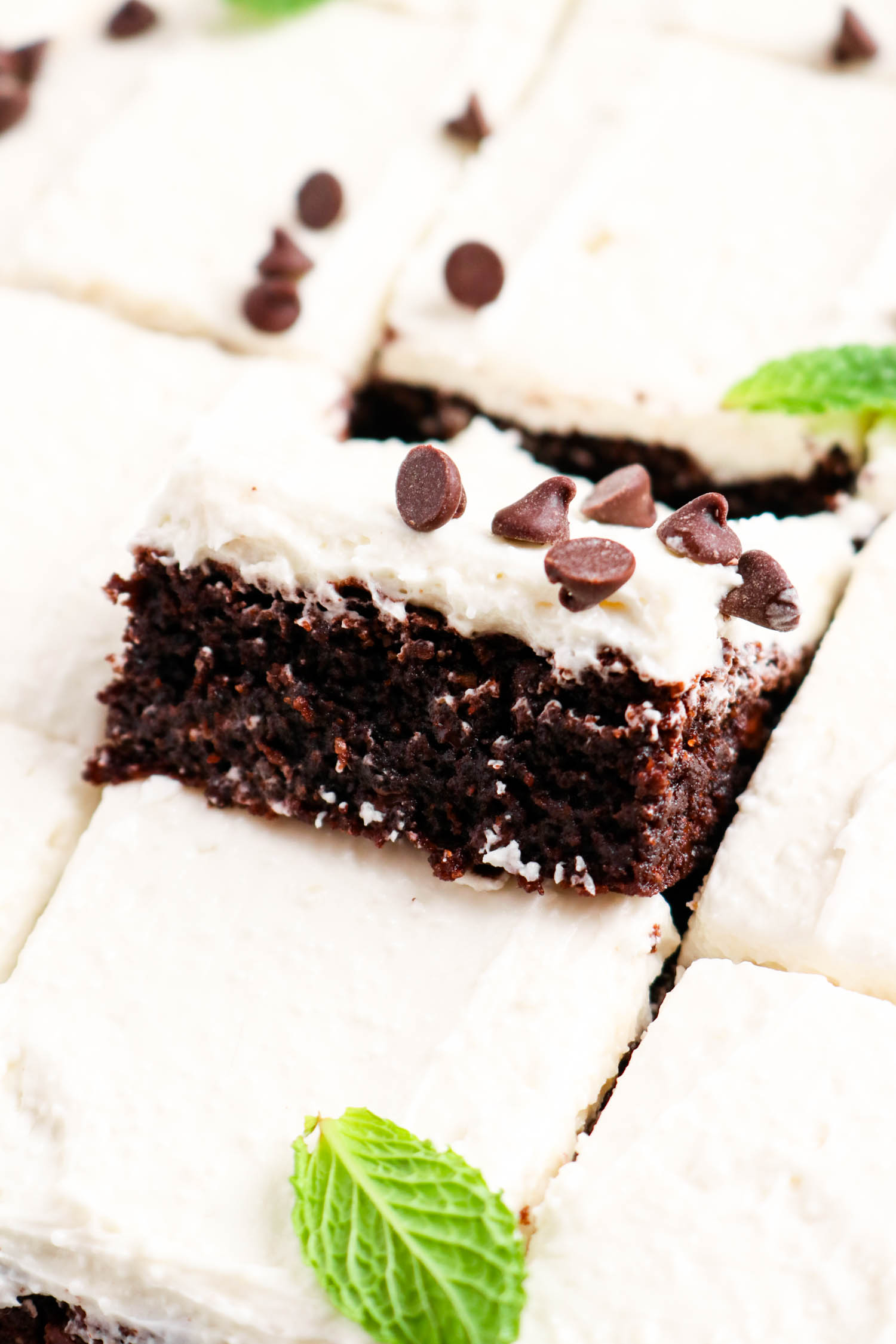 Baked and frosted peppermint brownies.