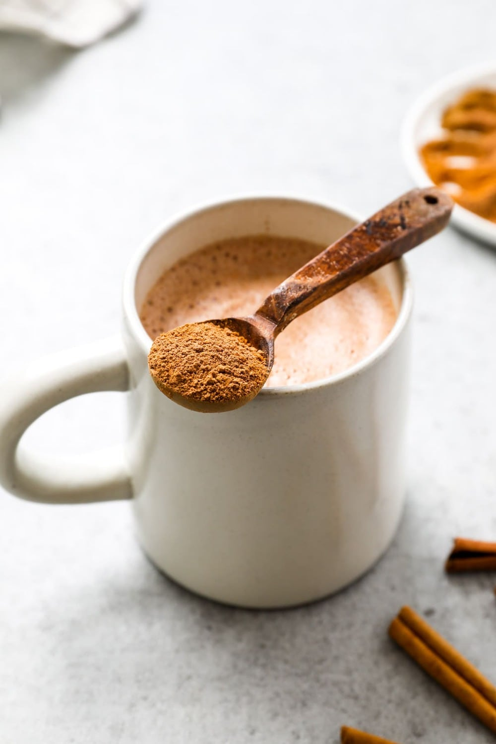 A spoonful of paleo healthy vegan hot chocolate mix.