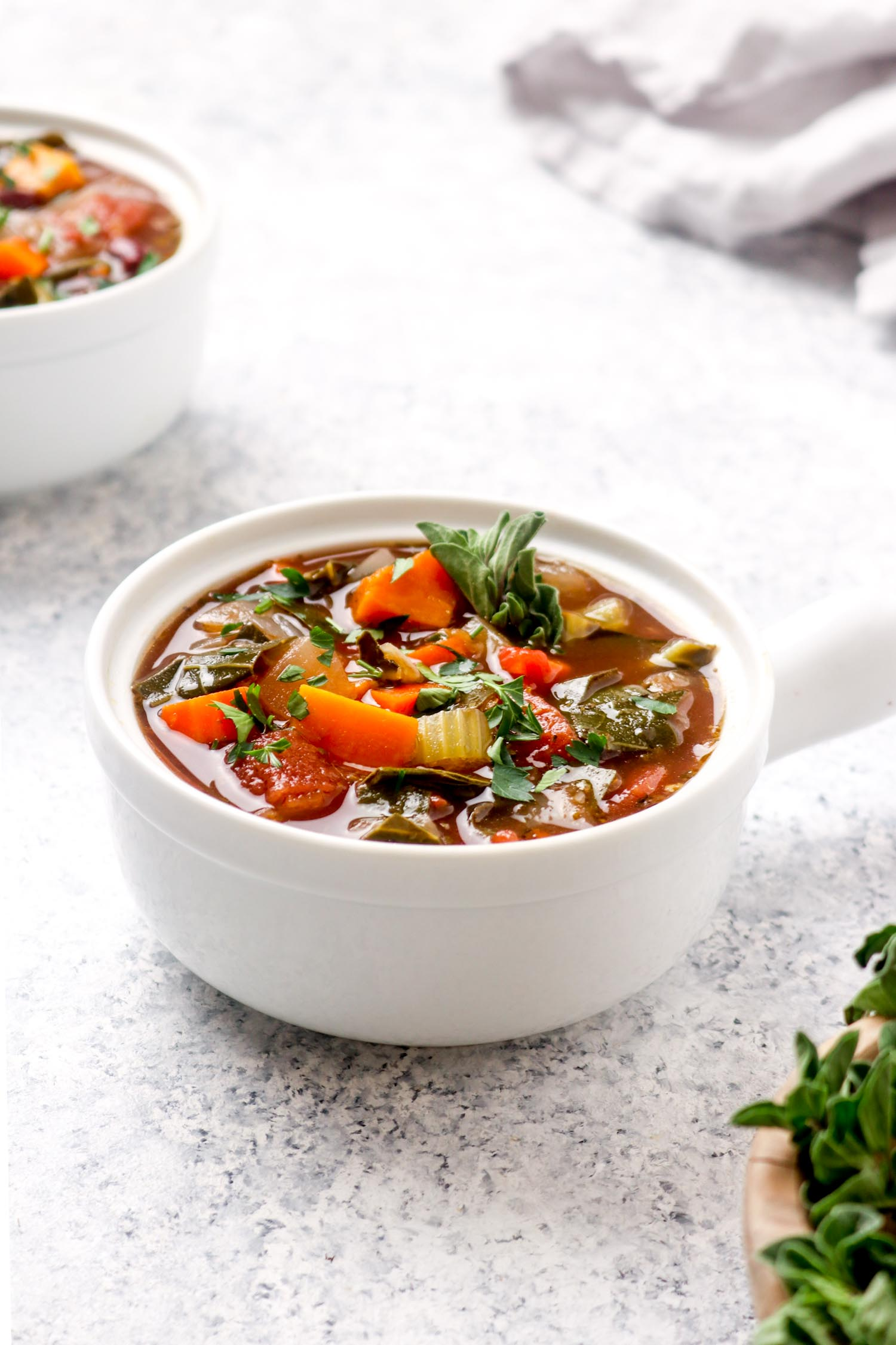 Two bowls of easy Italian balsamic vegetable soup with squash.