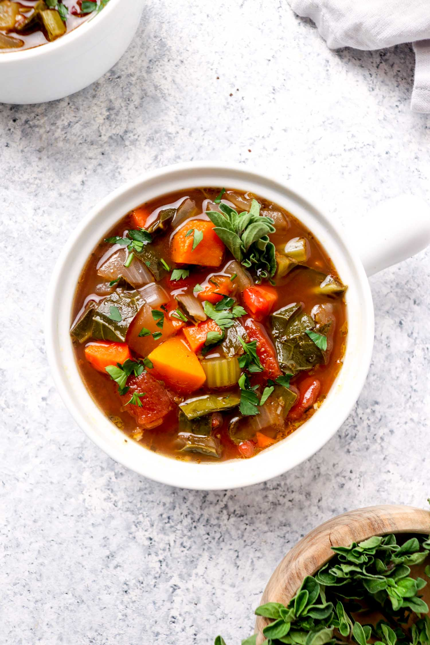 A white bowl with Balsamic Vegetable Soup and parsley.