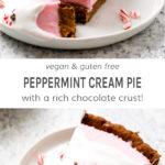Vegan and gluten free peppermint cream pie with a rich chocolate crust!