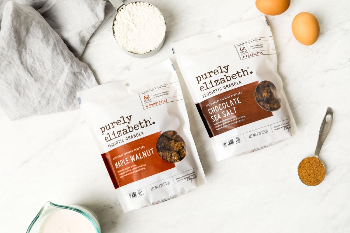 Ingredients for gluten free granola pancakes.