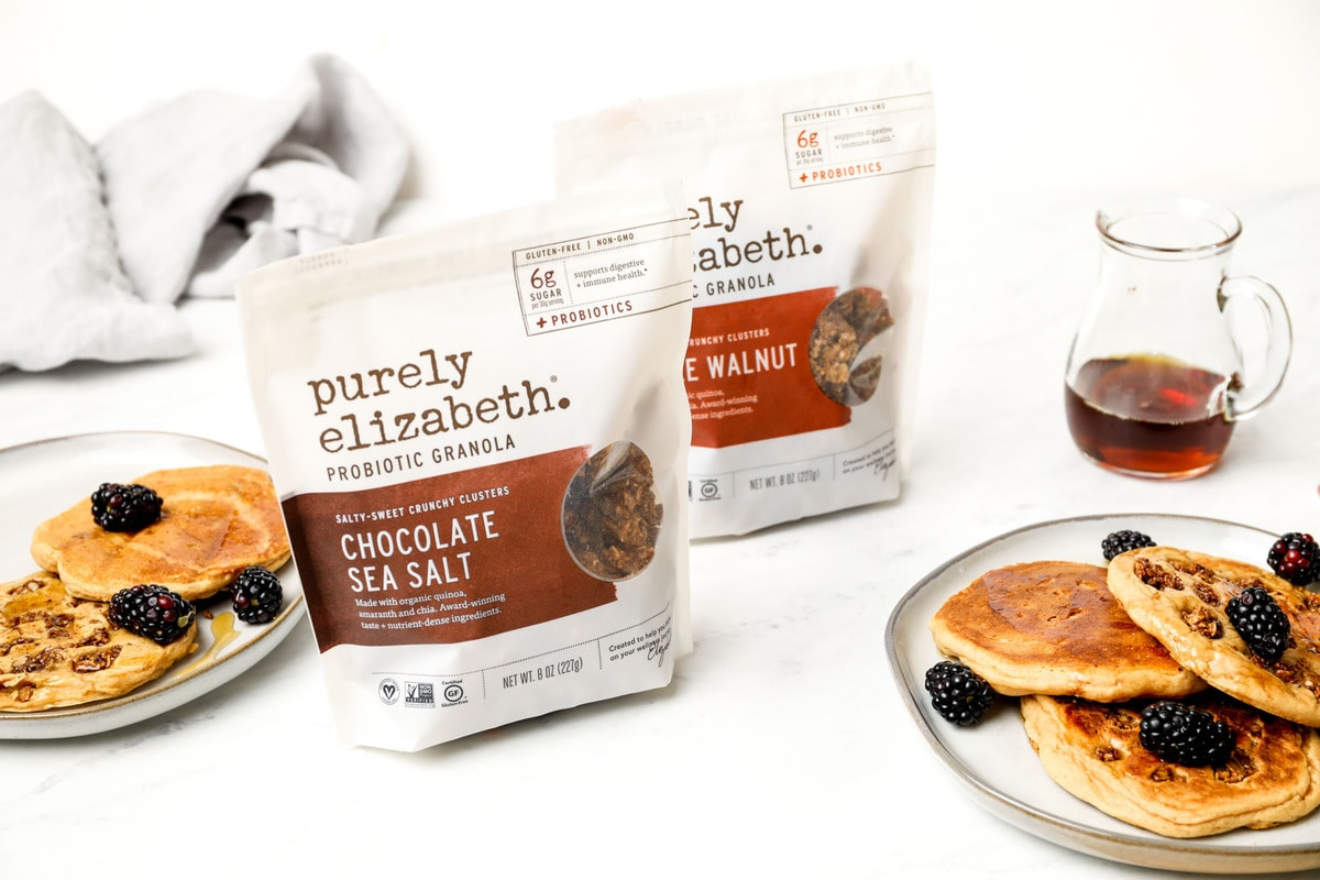 Gluten Free Granola Pancakes with bags or probiotic granola.