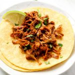 Beer Braised Jackfruit Tacos with crispy barbecue edges.
