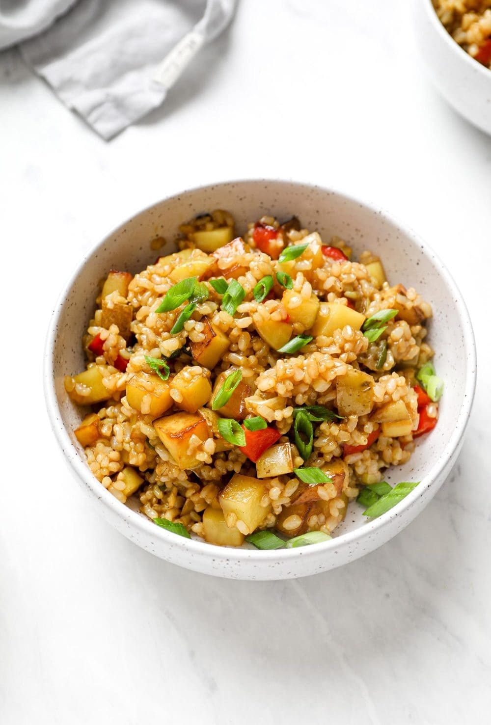 Potato Fried Rice with bell peppers.