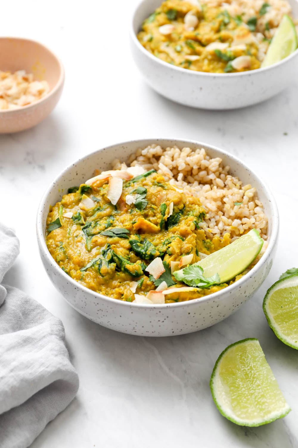 30 minute red lentil curry with cilantro and greens.