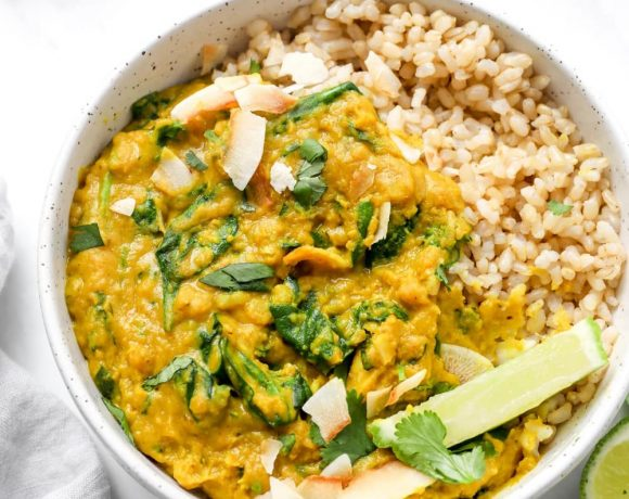 30 minute instant pot red lentil curry with brown rice.