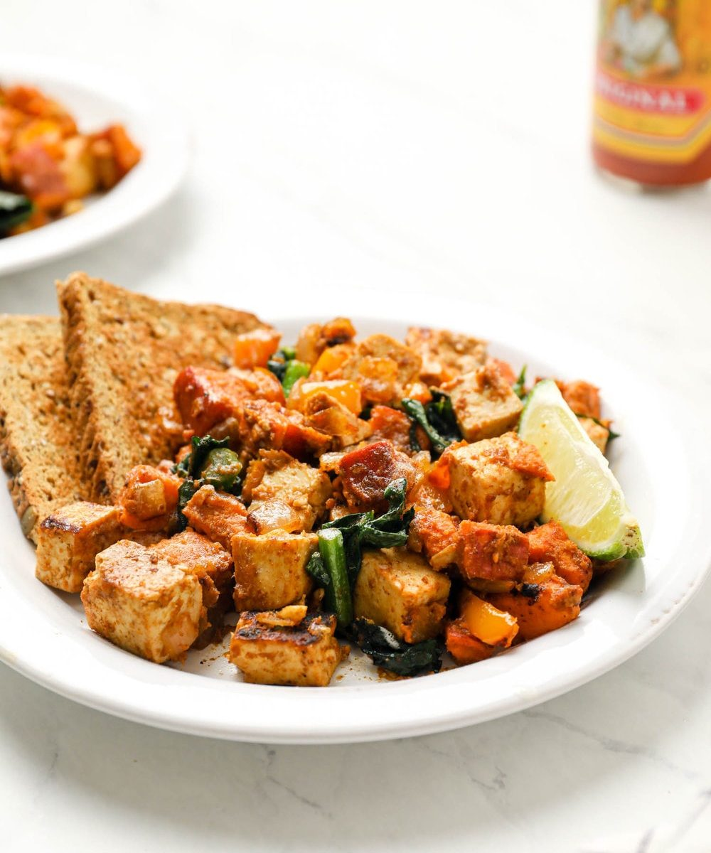 Sweet potato tofu hash with kale and bell pepper.