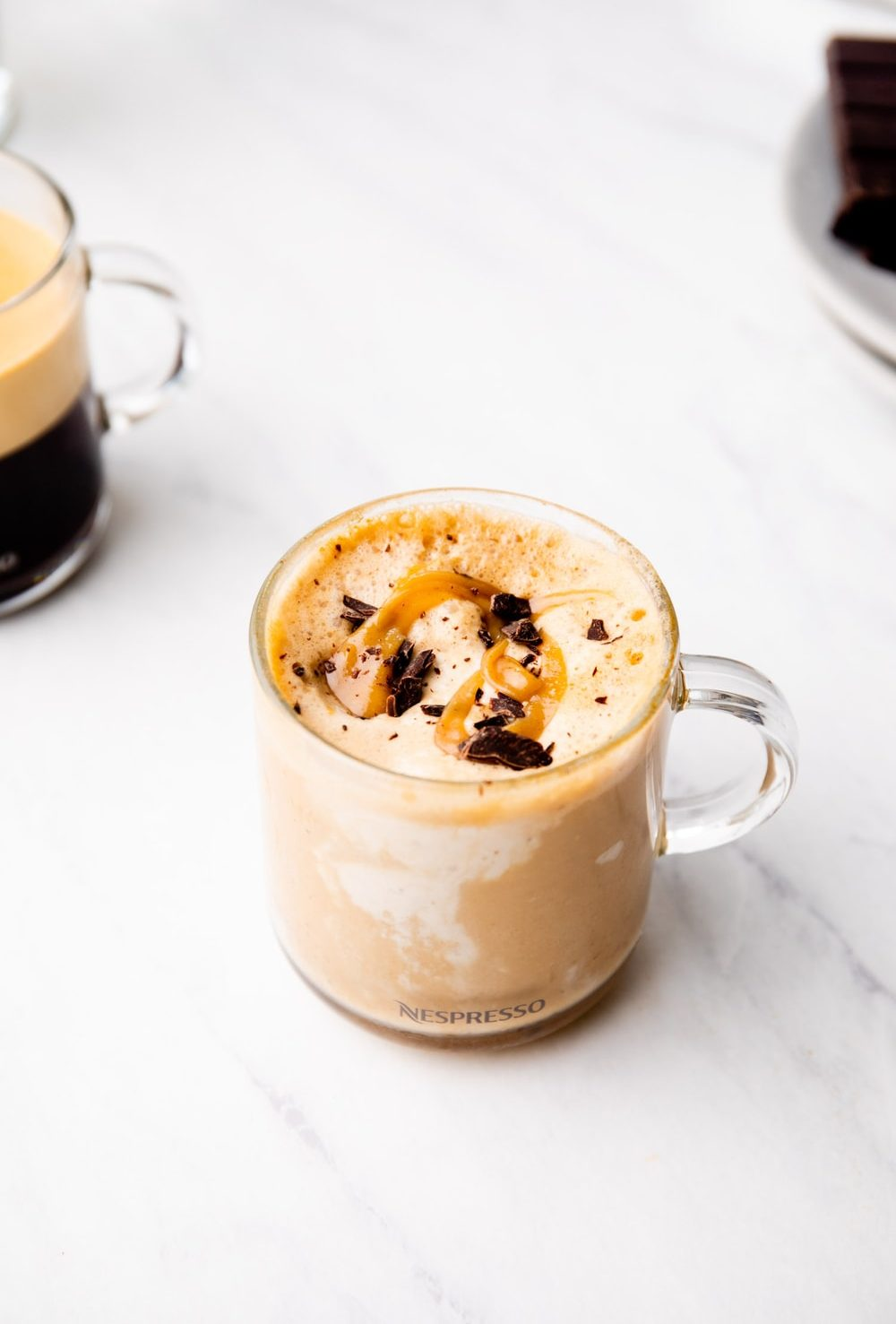 Vegan Affogato in a glass with peanut butter caramel and dark chocolate.