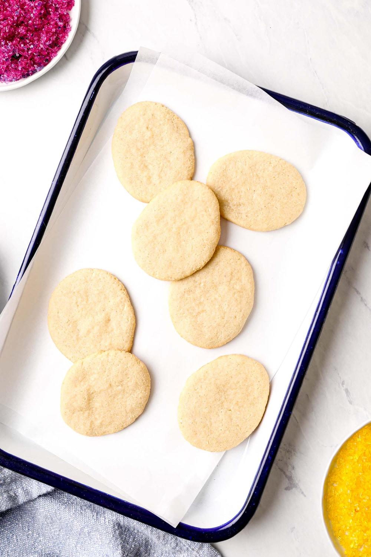 A plate of grain free easter egg sugar cookies.