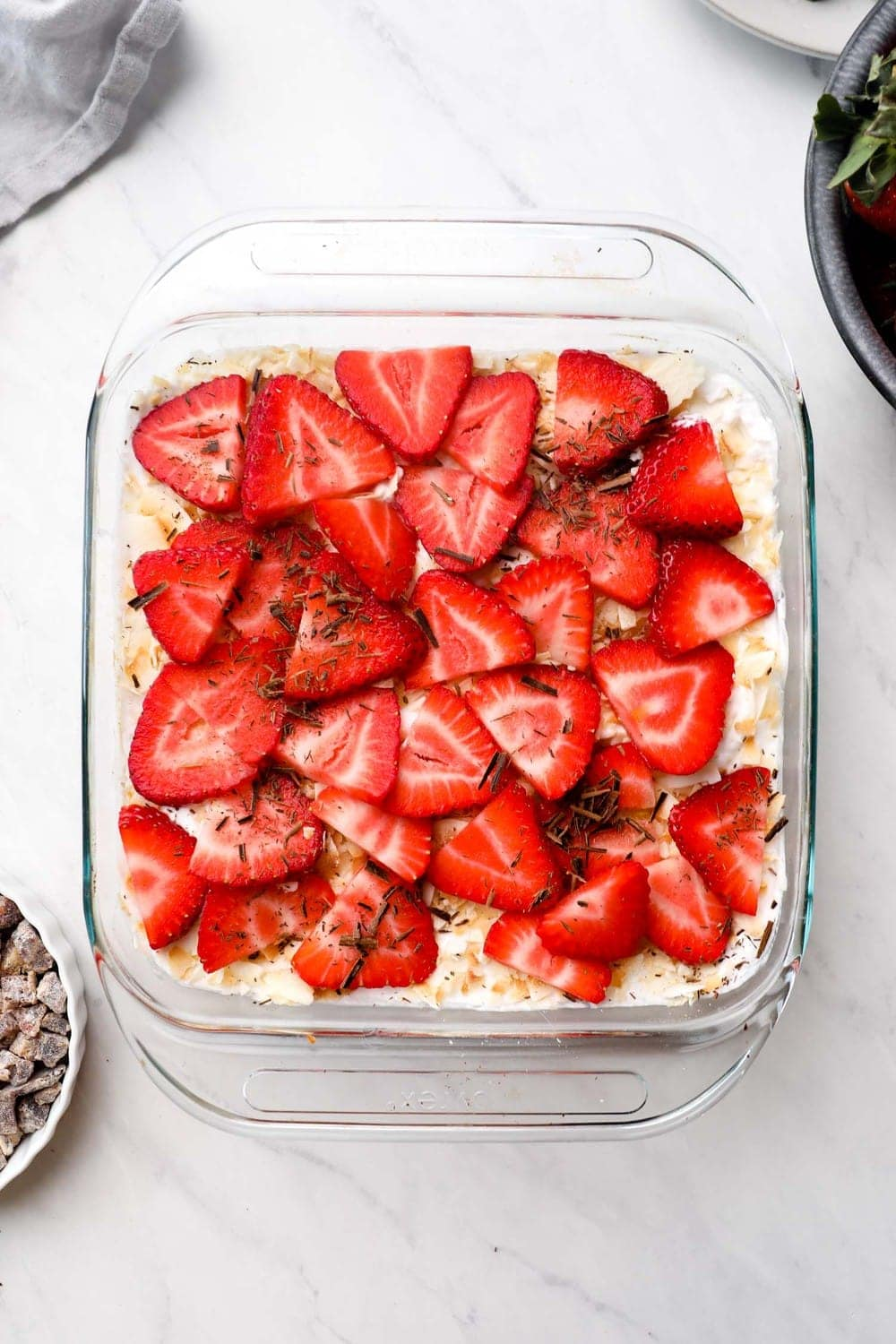Dessert Seven Layer Dip in a serving dish.