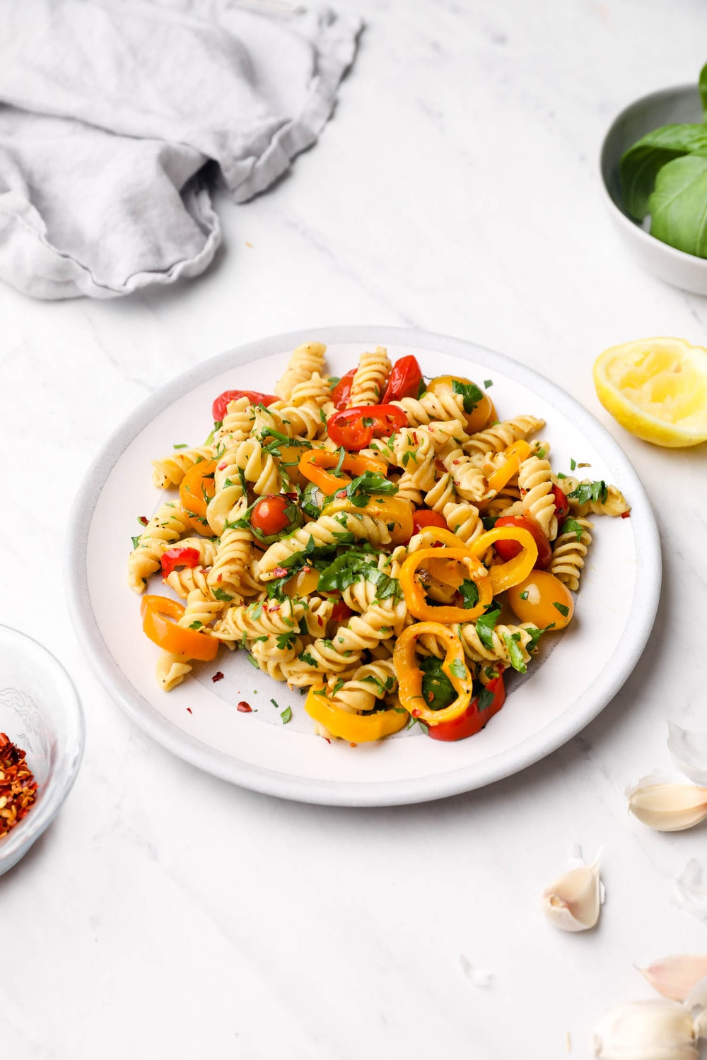 Vegan Pasta Primavera with peppers and tomatoes.