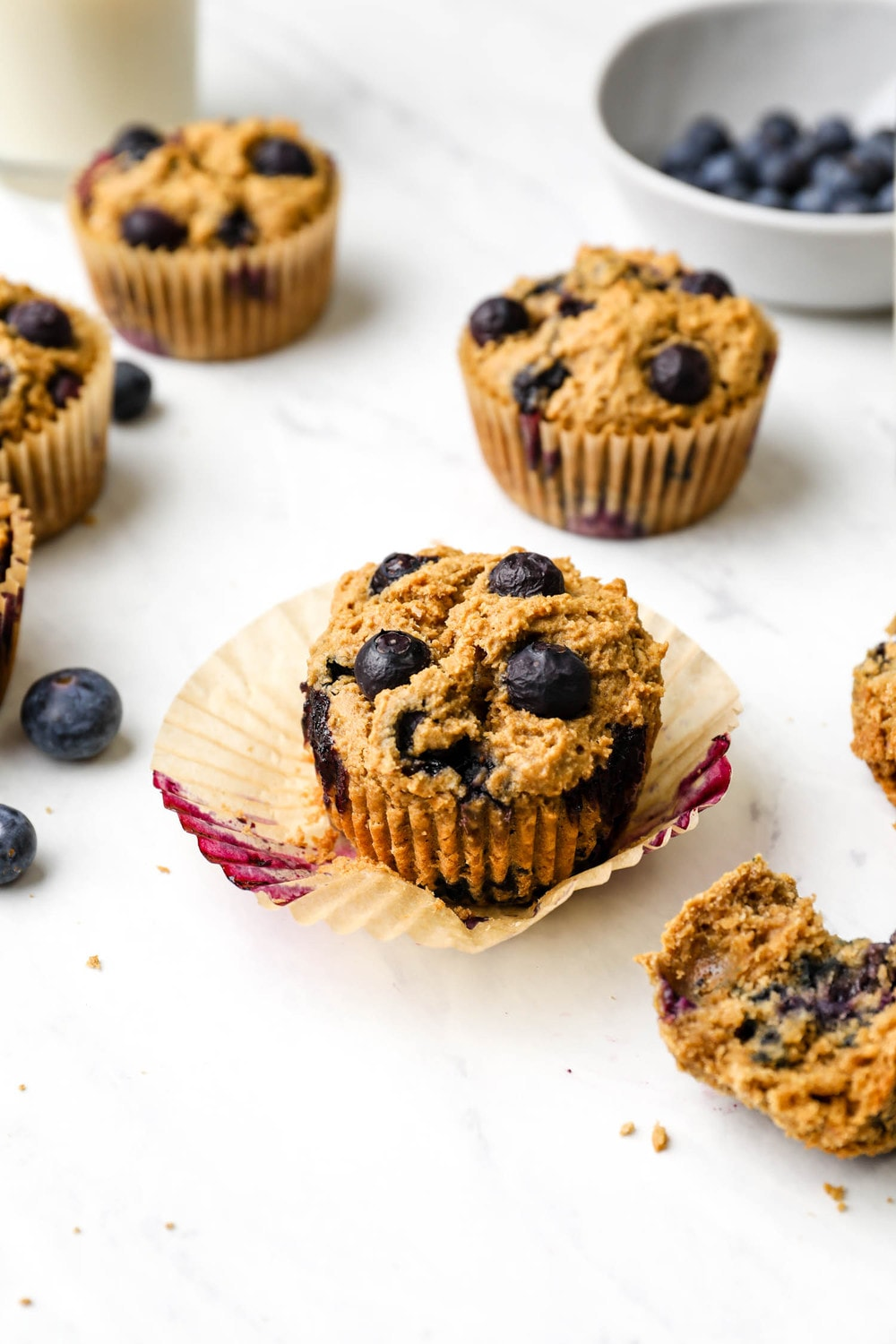 A Gluten Free Blueberry Muffins with the wrapper removed.
