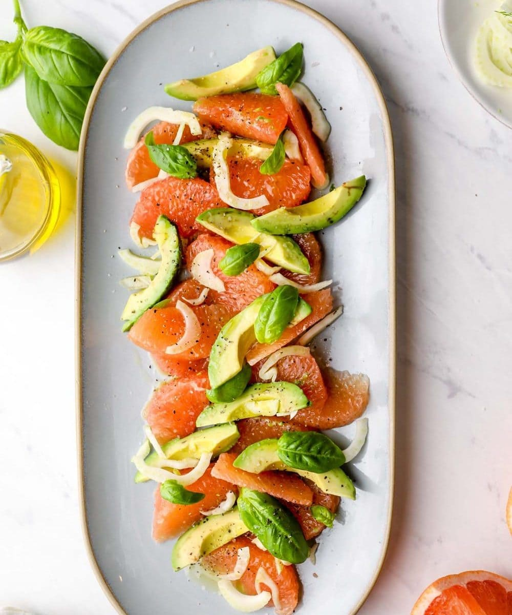 Grapefruit Avocado Salad arranged on a serving platter