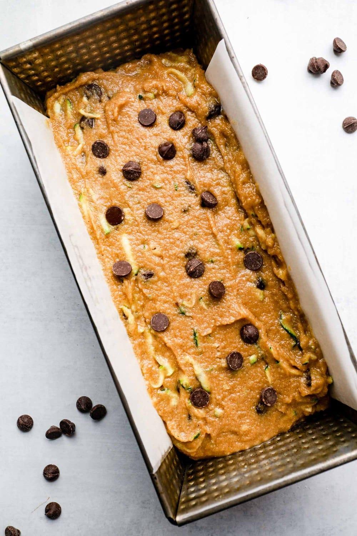 Gluten Free Zucchini Bread batter in a loaf pan.