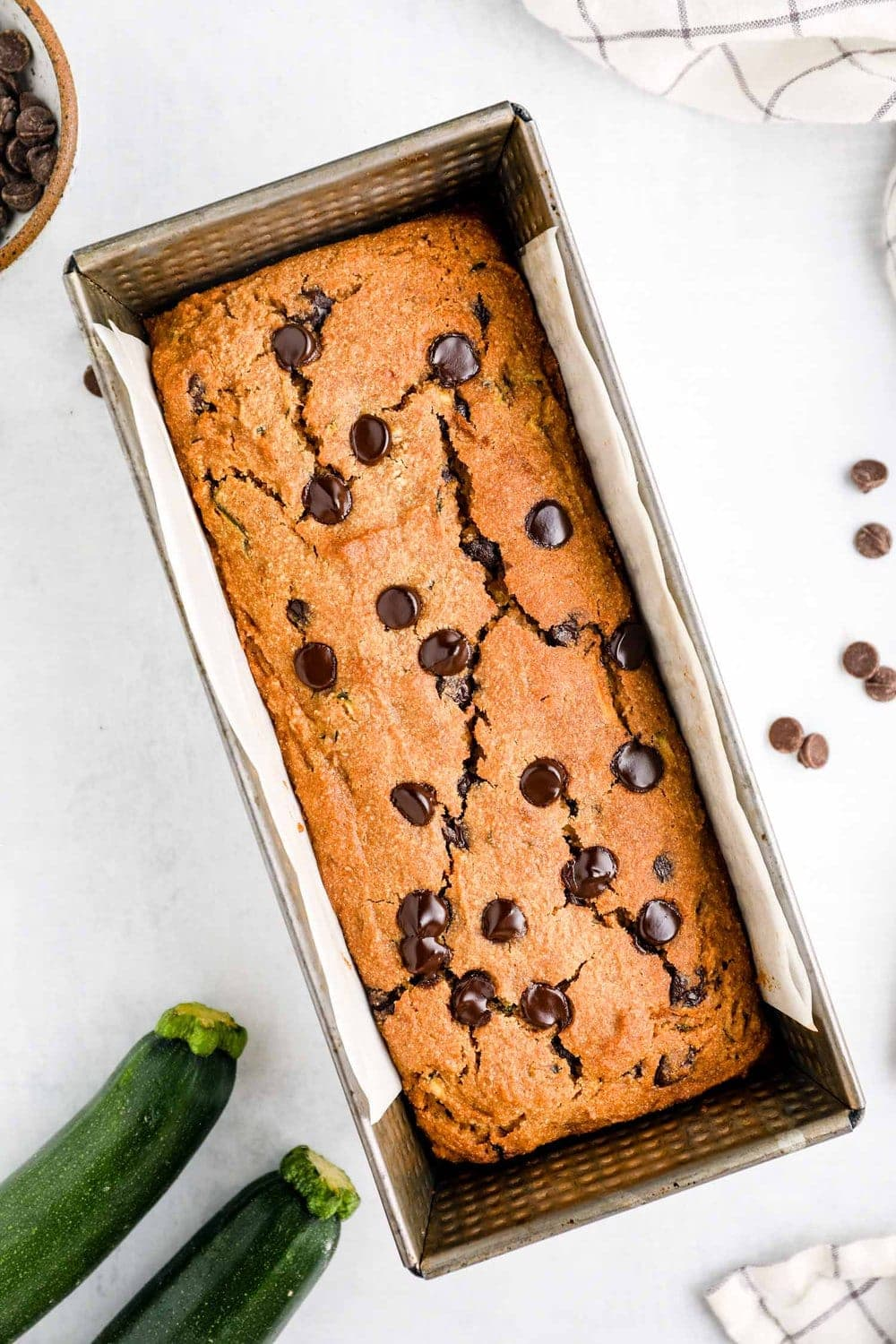 Gluten Free Vegan Zucchini Bread in the pan just out of the oven.
