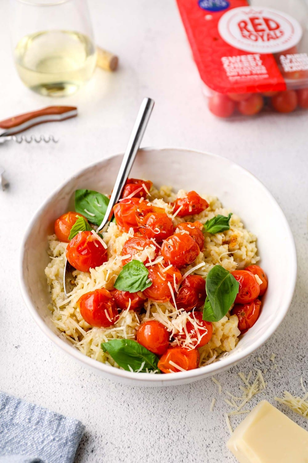 Vegan Risotto with Roast Tomatoes and parmesan