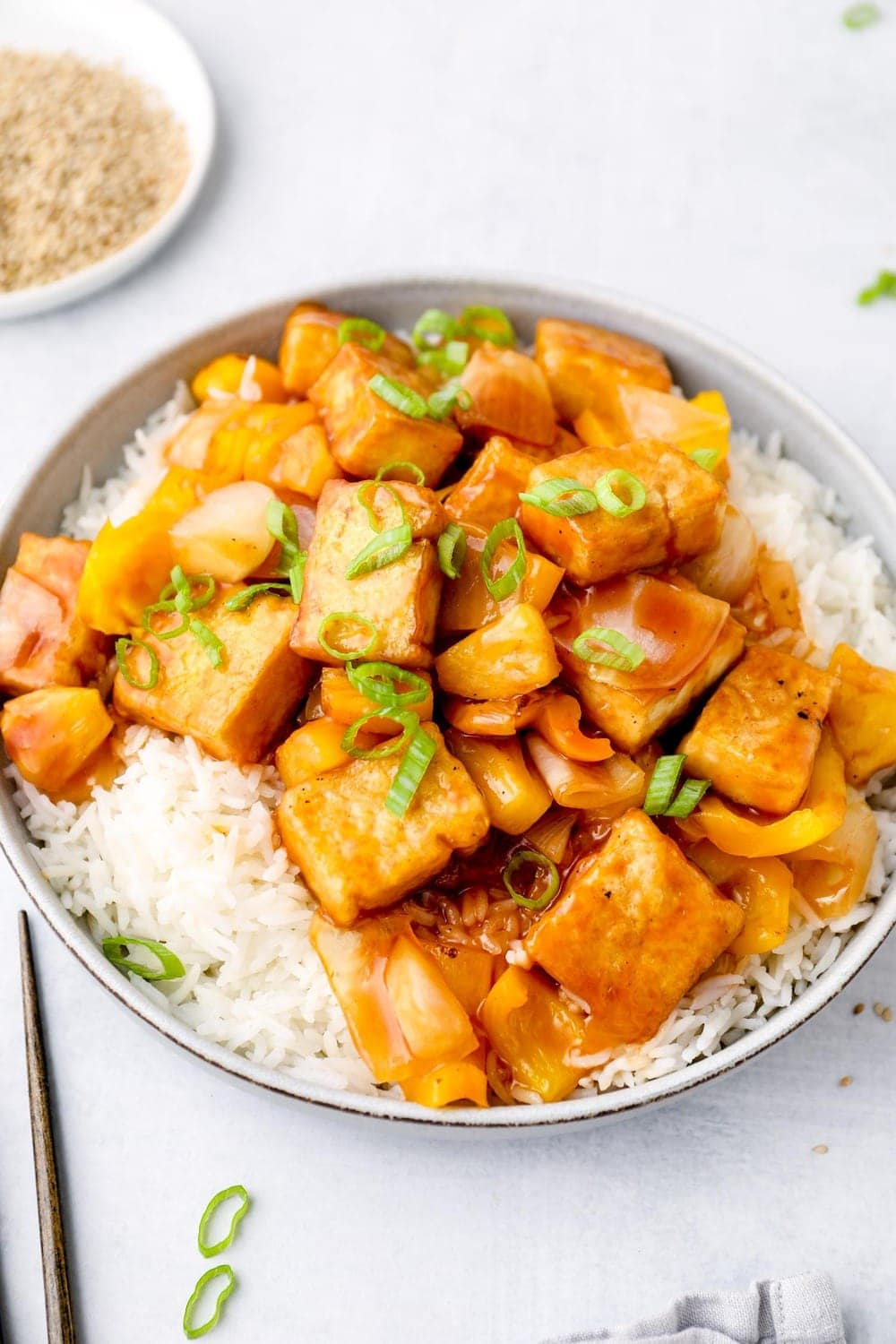 Sweet and Sour tofu with pineapple and bell peppers!