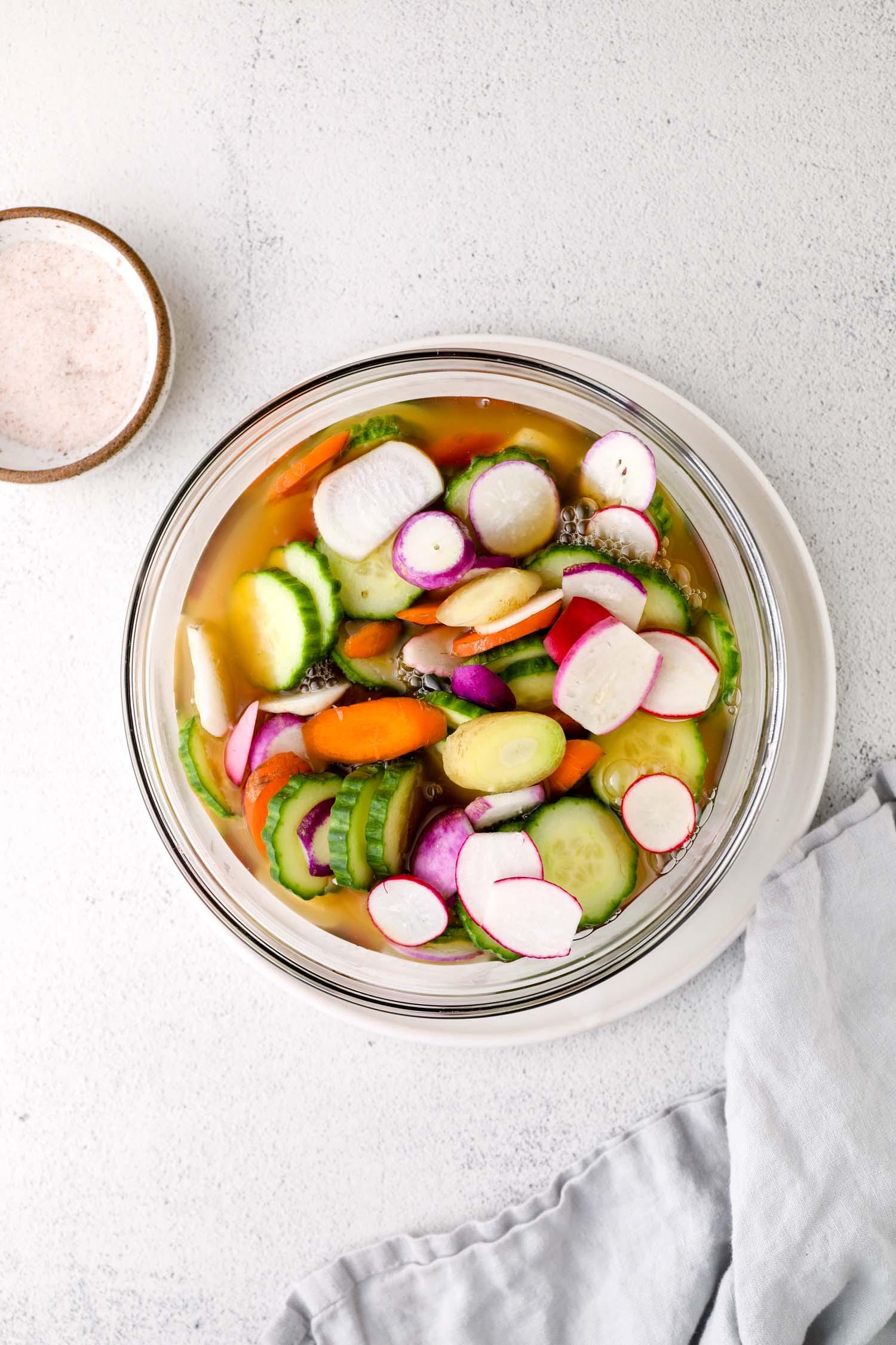 Pickled vegetables for a Bahn Mi Burger