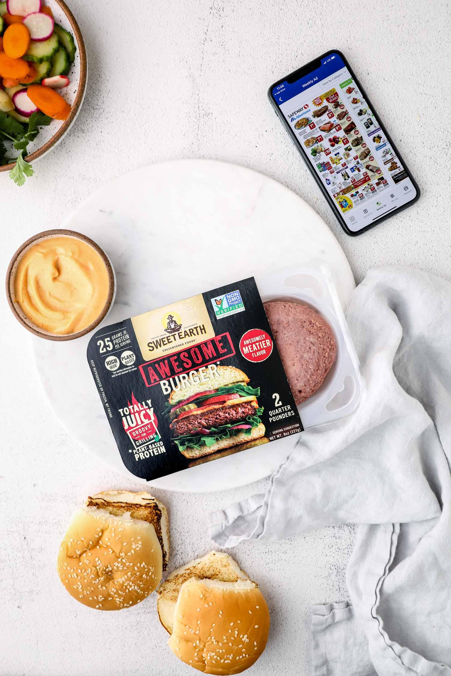 Ingredients to make a vegan bahn mi burger.