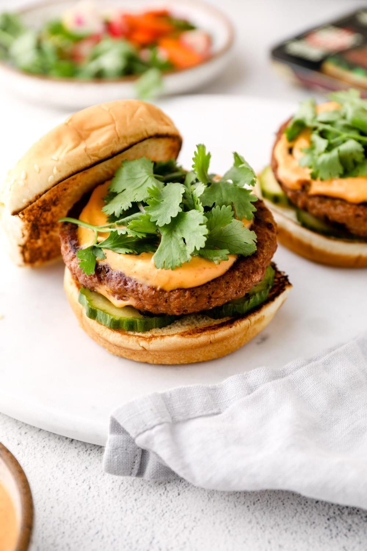 Bahn Mi Burger with sriracha mayo.