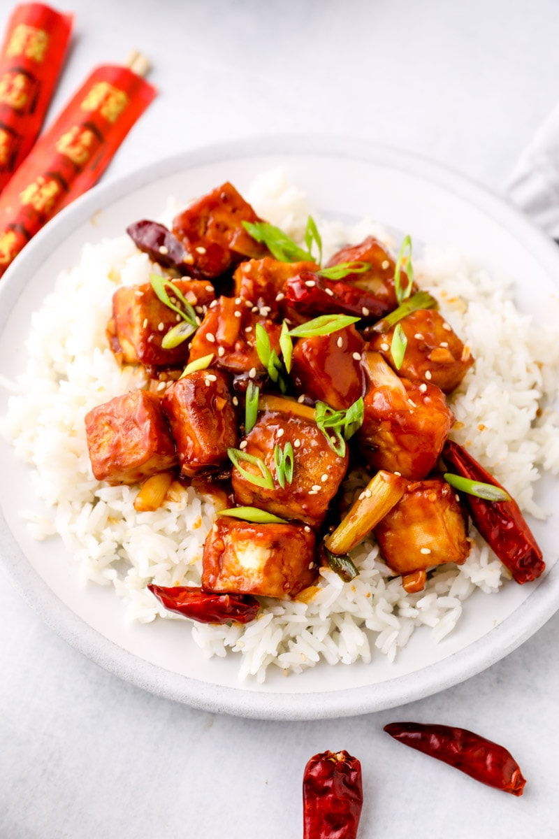Vegan General Tso's Tofu over rice.