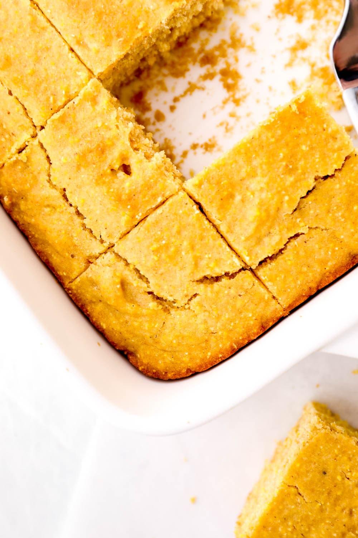 Gluten Free Cornbread sliced in the baking dish.