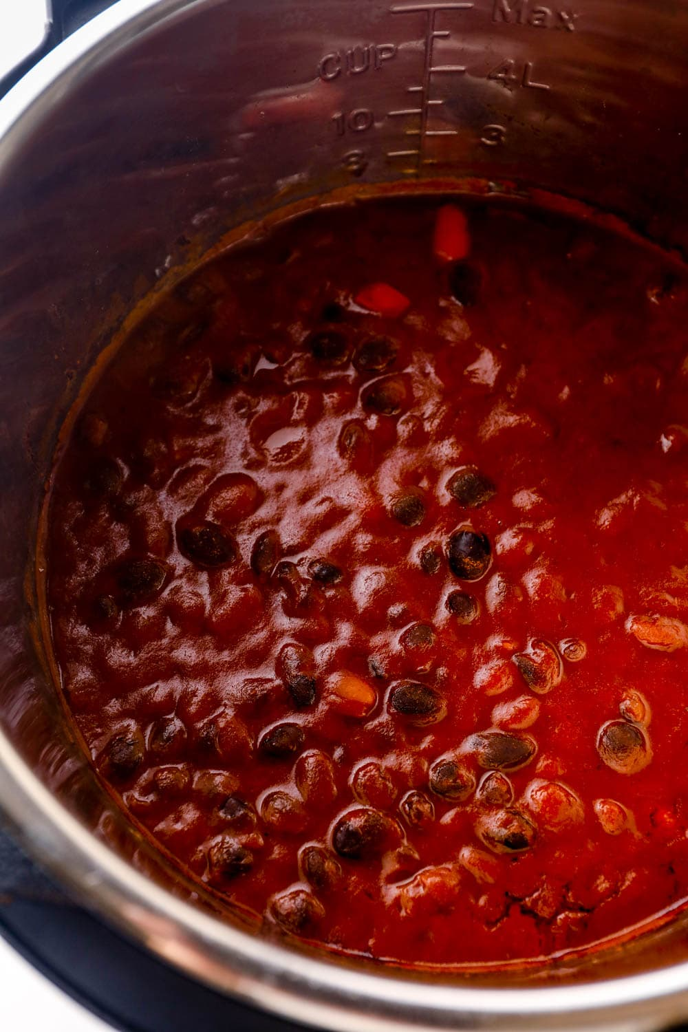 Instant Pot Vegetarian Chili in the instant pot.