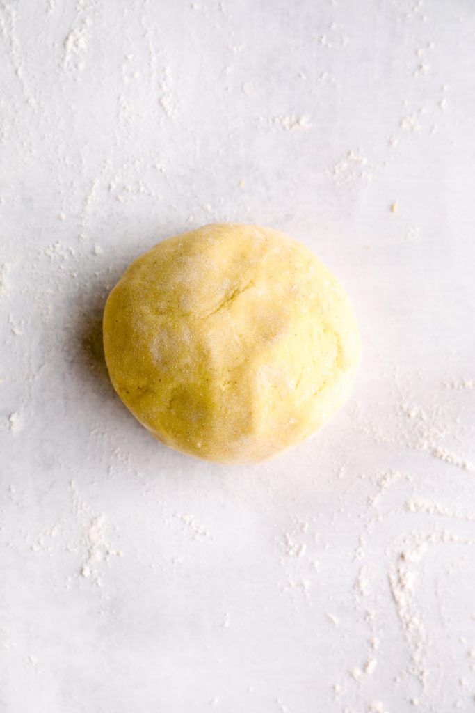 A smooth ball of gluten free pasta dough.