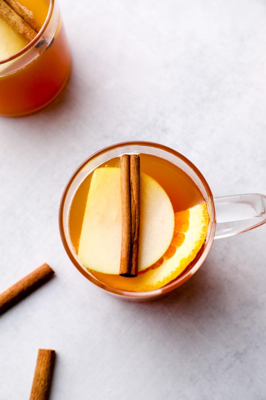 Hot Spiced Apple Cider in a mug.