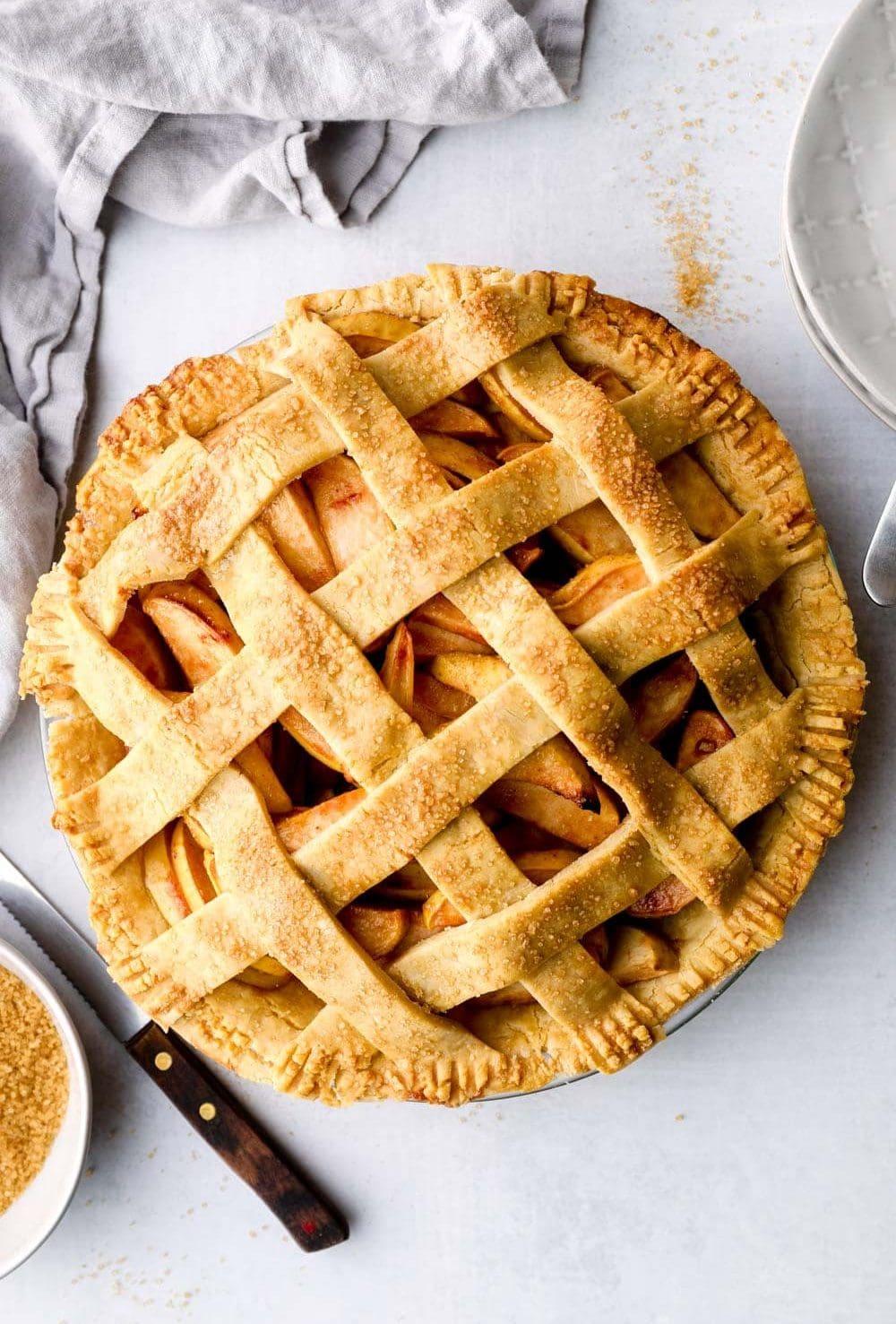 Gluten Free Apple Pie with lattice crust.