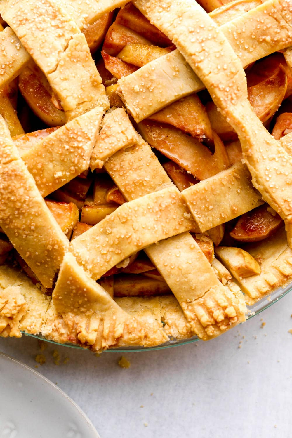 Gluten Free Apple Pie with a slice cut out.