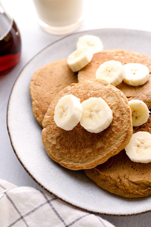 Oat Flour Pancakes with sliced banana.