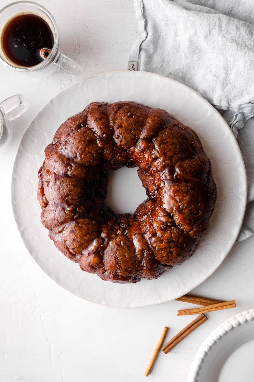 Gluten Free Monkey Bread on a plate with cinnamon.