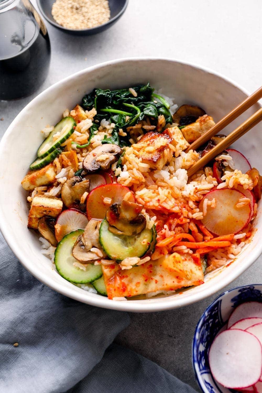 Bibimbap with gochujang sauce.