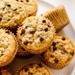 Gluten free banana muffins with chocolate chips.