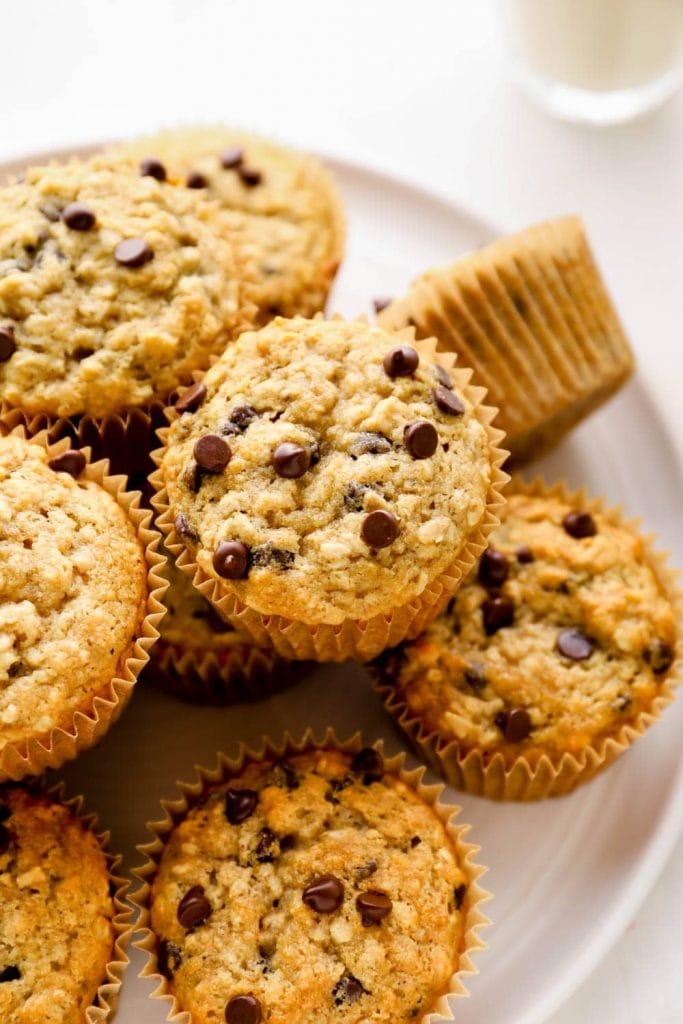 Gluten free banana muffins with chocolate chips.