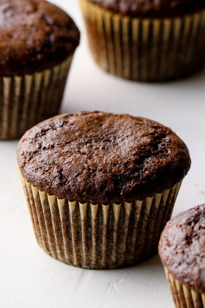 Chocolate Cupcakes out of the oven without frosting.