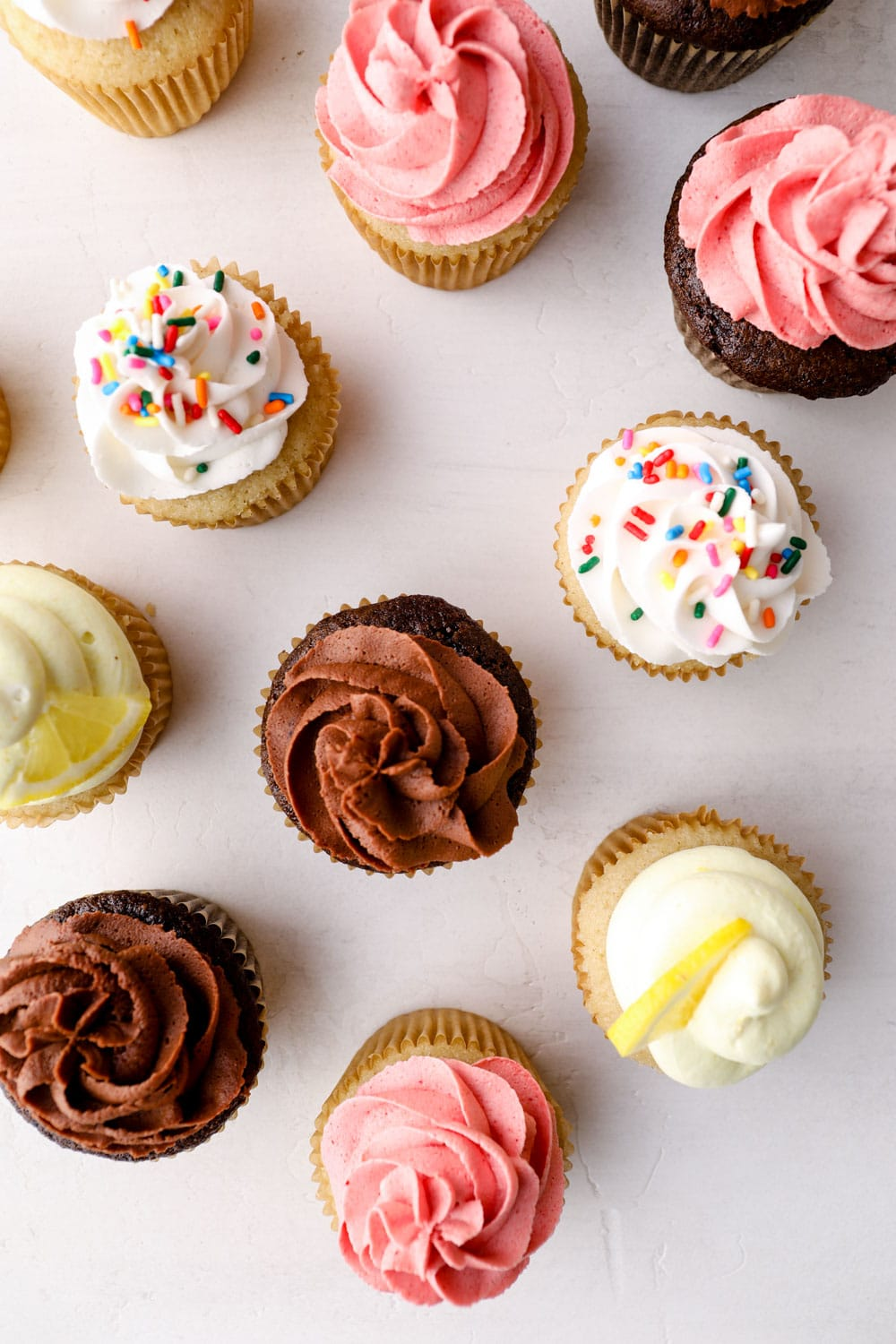 Vegan buttercream on a variety of cupcakes.