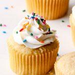 Vegan vanilla buttercream with sprinkles on a vanilla cupcake.