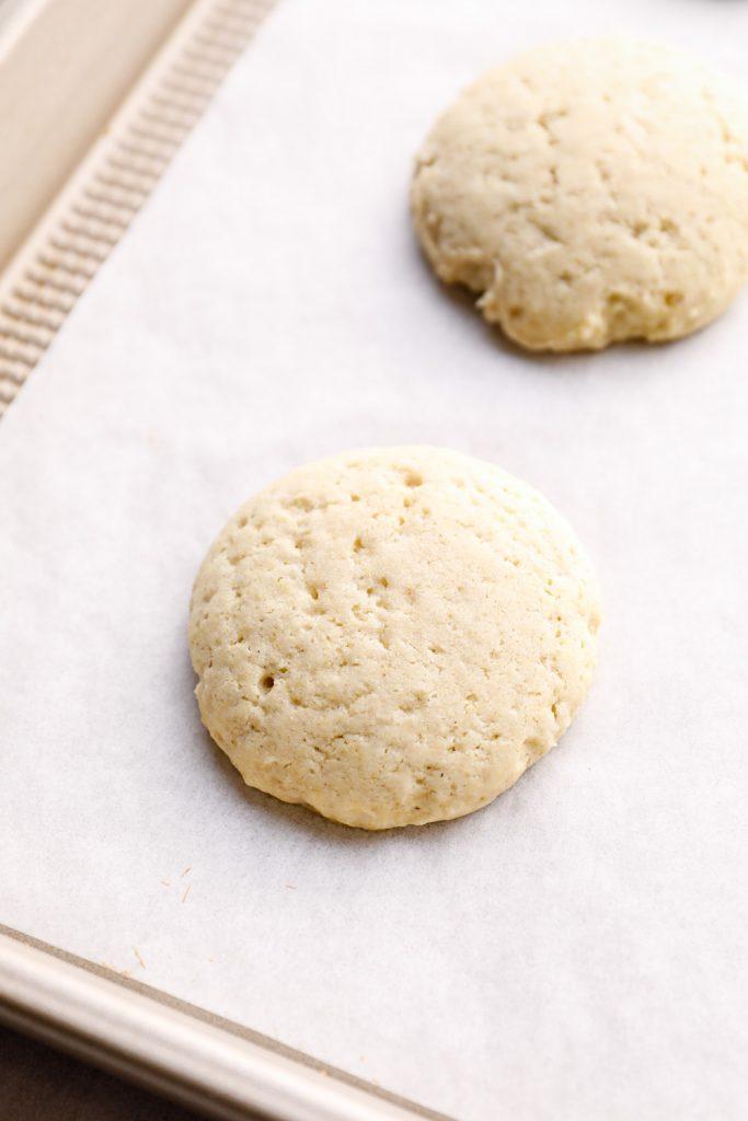 Just baked sugar cookies on a sheet pan.