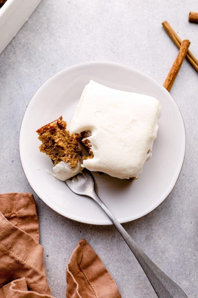 Gluten free banana cake with cream cheese frosting.