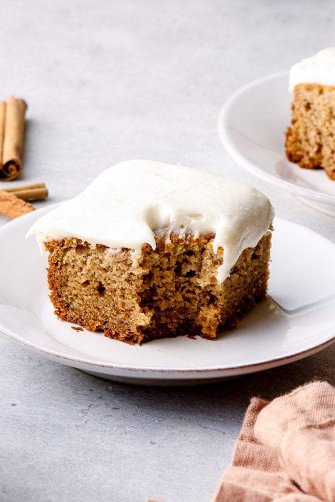 A bite out of a slice of gluten free banana cake.